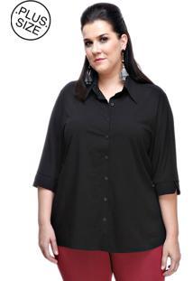 Camisa Melinde Plus Size Volpi Preta