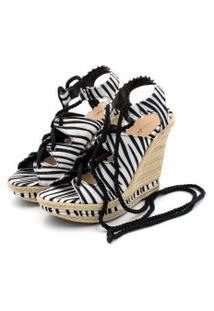 Sandália Anabela Salto Alto Em Sintético Zebra