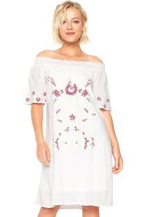 Vestido Facinelli By Mooncity Curto Estampado Off-White