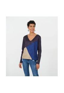 Blusa Em Suede Com Recortes Tricolor | Marfinno | Azul | P