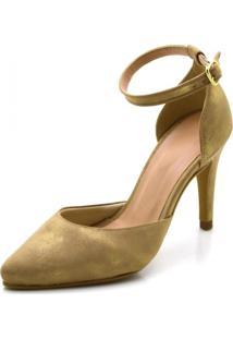 Sapato Scarpin Salto Alto Fino Em Camurçado Cintilante - Kanui
