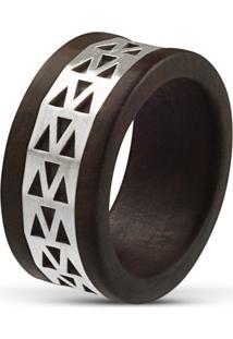Anel Wooden Design Tatu - Madeira E Prata