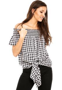 Camisa Facinelli By Mooncity Vichy Preta/Branca