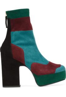Pierre Hardy Ankle Boot De Camurça Color Block Com Plataforma - Estampado