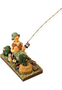 Escultura Decorativa De Resina O Pescador