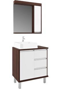 Gabinete Para Banheiro 70Cm 3 Gavetas Branco E Castaine - Branco/Marrom/Multicolorido - Dafiti
