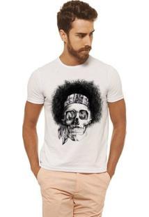 Camiseta Joss - Caveira Black Power - Masculina - Masculino-Branco