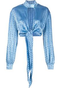 Off-White Blusa Cropped Com Estampa De Logo - Azul