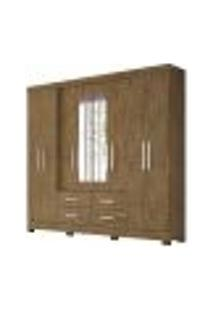 Guarda Roupa Casal 8 Portas Com Espelho San Lorenzo Plus Castanho Wood Moval