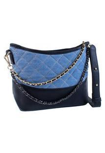 Bolsa Feminina Transversal Fashion Luxo Jens Alça Corrente Azul Claro