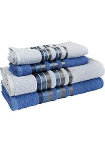 Jogo De Toalha Para Banho Camesa Luxe Com Barra Em Algodão E Poliéster Com 4 Peças - Azul