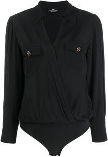 Elisabetta Franchi Wrap Utility Shirt Bodysuit - Preto