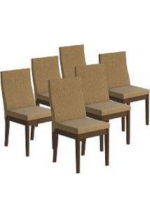 Cadeira Munique Em Madeira Maciça 6 Peças Castanho Acetinado - Urbe Móveis