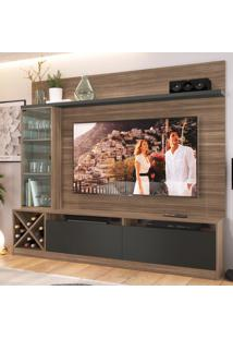 Rack Com Painel Para Tv Até 50 Polegadas 3 Portas Marrom/Preto 2021 - Quiditá Móveis