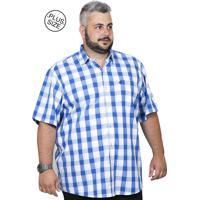 Camisa Plus Size Bigshirts Manga Curta Xadrez - Azul Branca 0e3c76c6c61