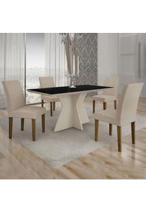 Conjunto De Mesa De Jantar Creta Iii Com 4 Cadeiras Olímpia Veludo Preto E Palha
