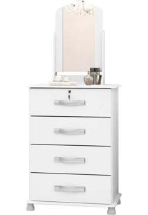Cômoda Dalila New 4 Gavetas Com Espelho Branco