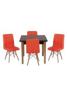 Conjunto Mesa De Jantar Luiza 80Cm Preta Com 4 Cadeiras Gomos - Vermelho