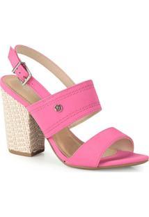 Sandália Salto Grosso Via Marte Pink