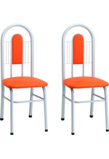 Conjunto Com 2 Cadeiras Emma Laranja E Branco