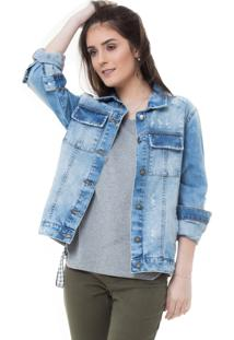 Jaqueta Rosa Line Jeans Destroyed Com Bolso Quadrado