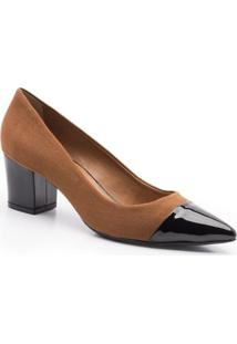 Scarpin Isorella Captoe Honey Love Suede - Feminino-Marrom