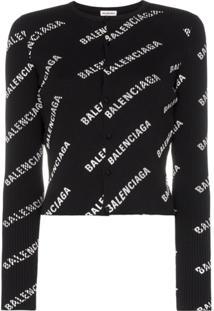 Balenciaga Cardigan De Tricô Com Logo - Preto