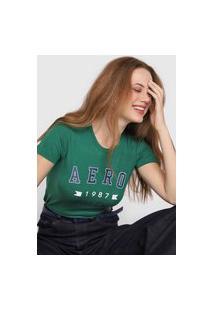 Camiseta Aeropostale Lettering Verde