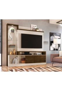 Estante Para Home Theater E Tv Até 55 Polegadas Frizz Prime Off White E Savana