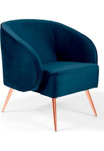 Poltrona Decorativa Fixa Pã©S Palito Metalizado Agnes Veludo Azul Marinho B-287 - Lyam Decor - Azul - Dafiti