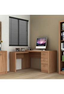 Mesa Para Computador Com 3 Gavetas Me4101 - Tecno Mobili - Amendoa
