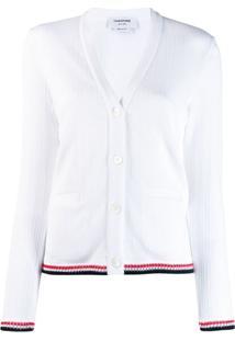Thom Browne Cardigan Canelado Com Decote Em V - Branco