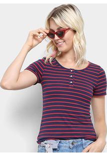 Camiseta Top Moda Listrada Feminina - Feminino-Marinho+Vermelho