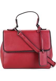 Bolsa Shoestock Transversal Mini Tachas Feminina - Feminino-Vinho
