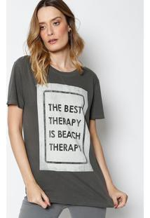 "Camiseta ""The Best Therapy..."" - Cinza & Cinza Clarocanal"