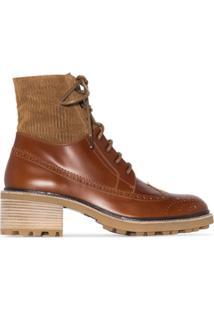 Chloé Ankle Boot Com Recortes E Salto 55Mm - Marrom