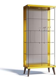 Cristaleira Tifanny 02 Portas De Vidro Amarelo Brilho - Imcal