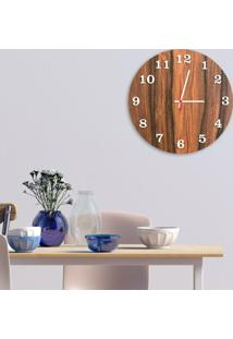 Relógio De Parede Decorativo Premium Amadeirado Com Números Em Relevo Branco Médio