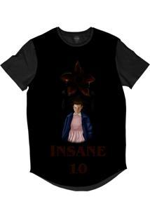 Camiseta Longline Insane 10 Stranger Things Eleven Demogorgon Sublimada Cinza