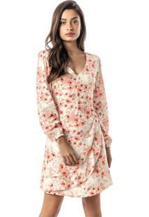 Vestido Rosa Floral Com Pregas