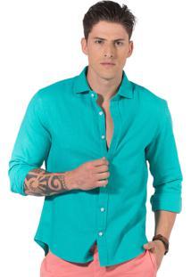 Camisa Manga Longa R.Mendes Linho Azul Cancun