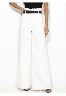 Calça Wide Leg Sarja Com Cinto Branca