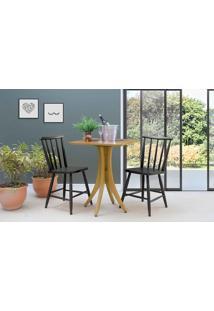 Mesa Quadrada Com 2 Cadeiras Juliette - Amêndoa E Preto