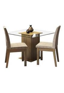 Conjunto Sala De Jantar Madesa Lili Mesa Tampo De Vidro Com 2 Cadeiras Rustic/Fendi Rustic/Fendi