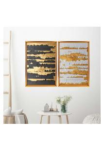 Quadro Com Moldura Chanfrada Ouro Descascado Dourado - Médio