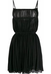 Saint Laurent Vestido Mini Com Franzido - Preto