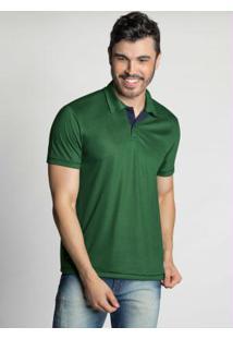 Camisa Polo Verde Com Cor Contrastante Na Gola