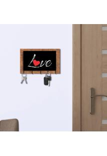 Porta Chaves E Cartas Love Corten E Preto Com Relevo Espelhado Prata Único