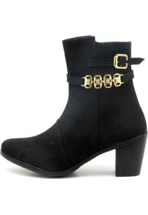 Bota Atron Shoes Cano Curto Preta