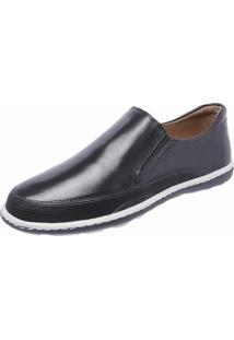 Tênis Casual Em Couro Slip On Dr Shoes Preto